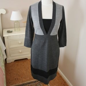 CONNECTED APPAREL gray/black sweater dress
